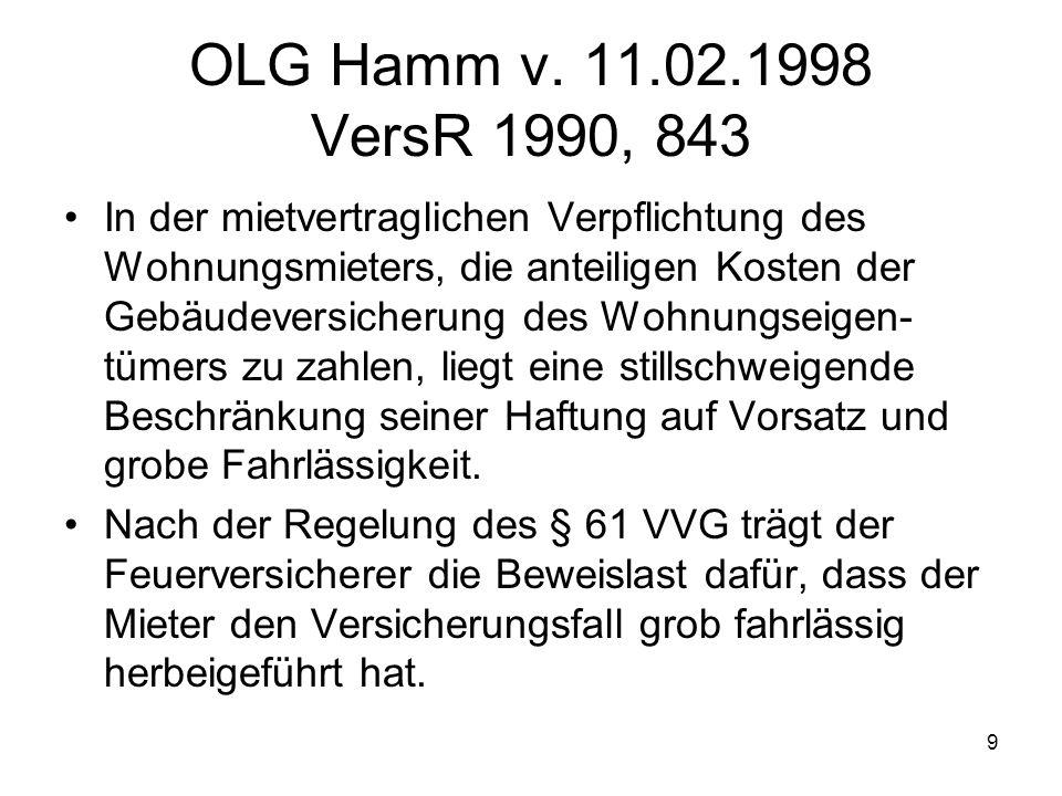 OLG Hamm v. 11.02.1998 VersR 1990, 843