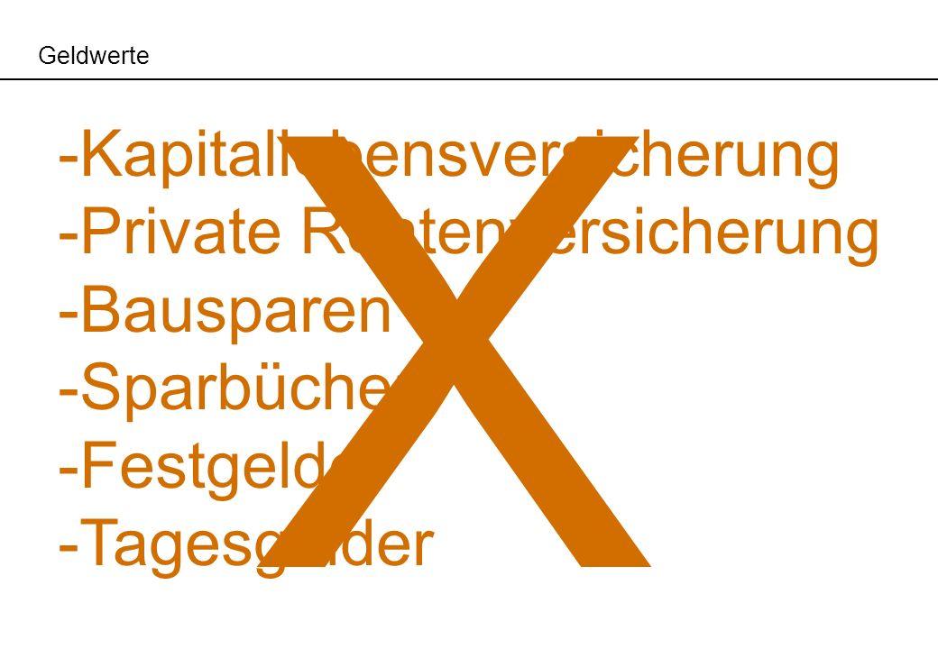 X Kapitallebensversicherung Private Rentenversicherung Bausparen