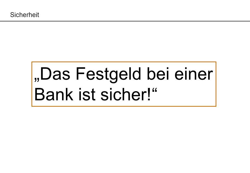 """""""Das Festgeld bei einer Bank ist sicher!"""