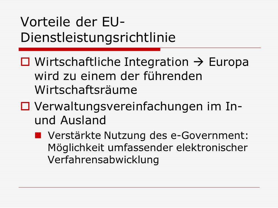 Vorteile der EU-Dienstleistungsrichtlinie