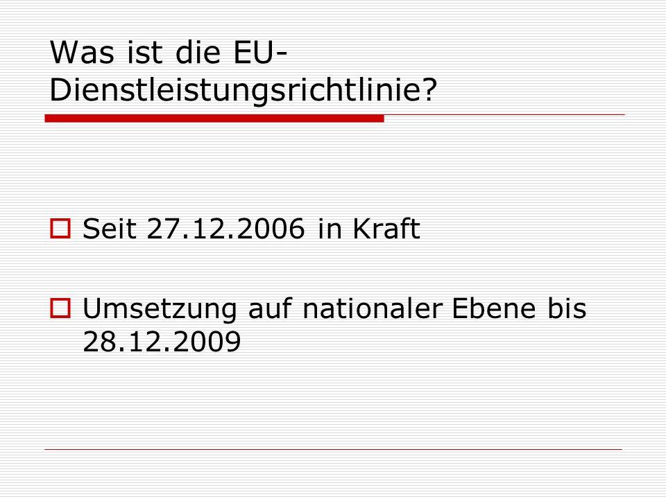 Was ist die EU-Dienstleistungsrichtlinie