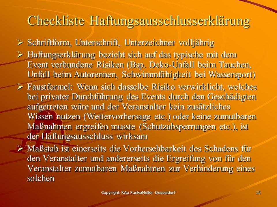 Checkliste Haftungsausschlusserklärung