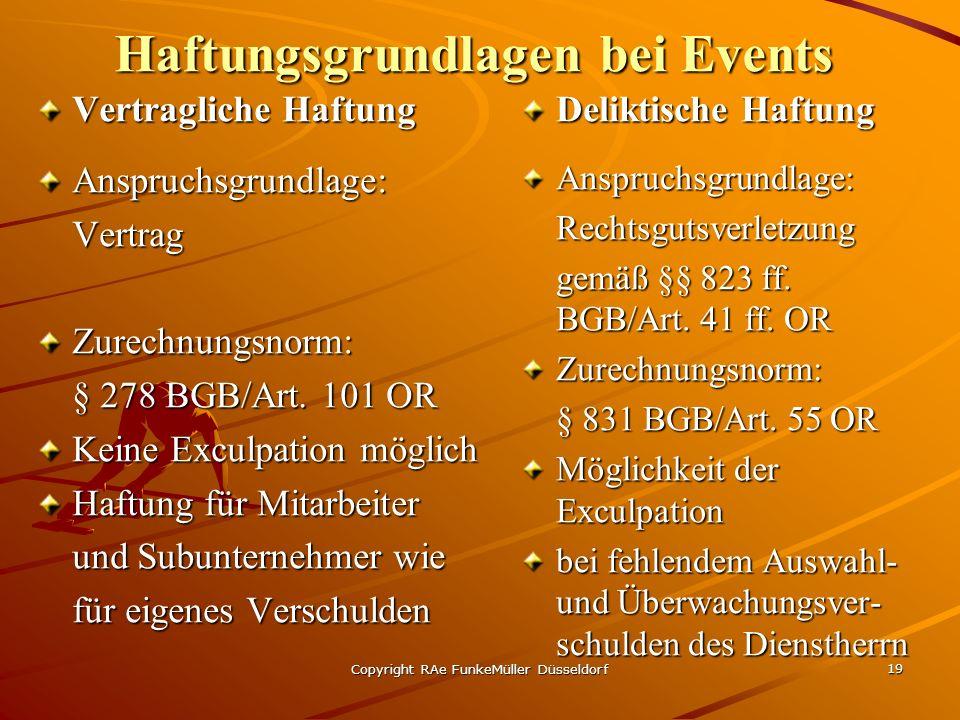 Haftungsgrundlagen bei Events