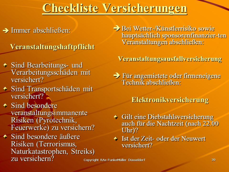 Checkliste Versicherungen