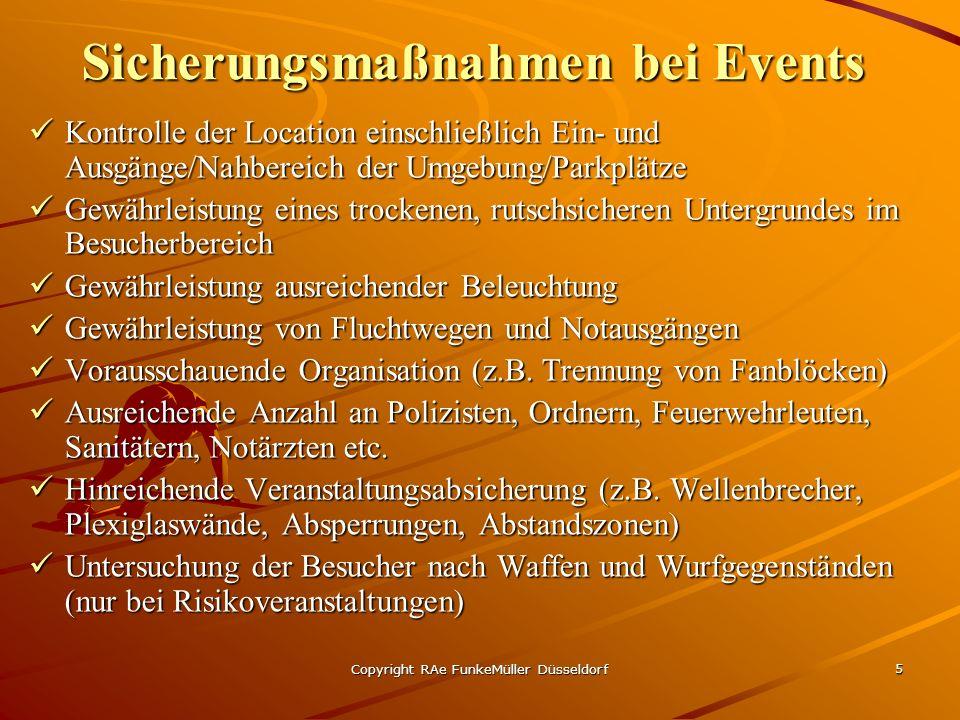 Sicherungsmaßnahmen bei Events