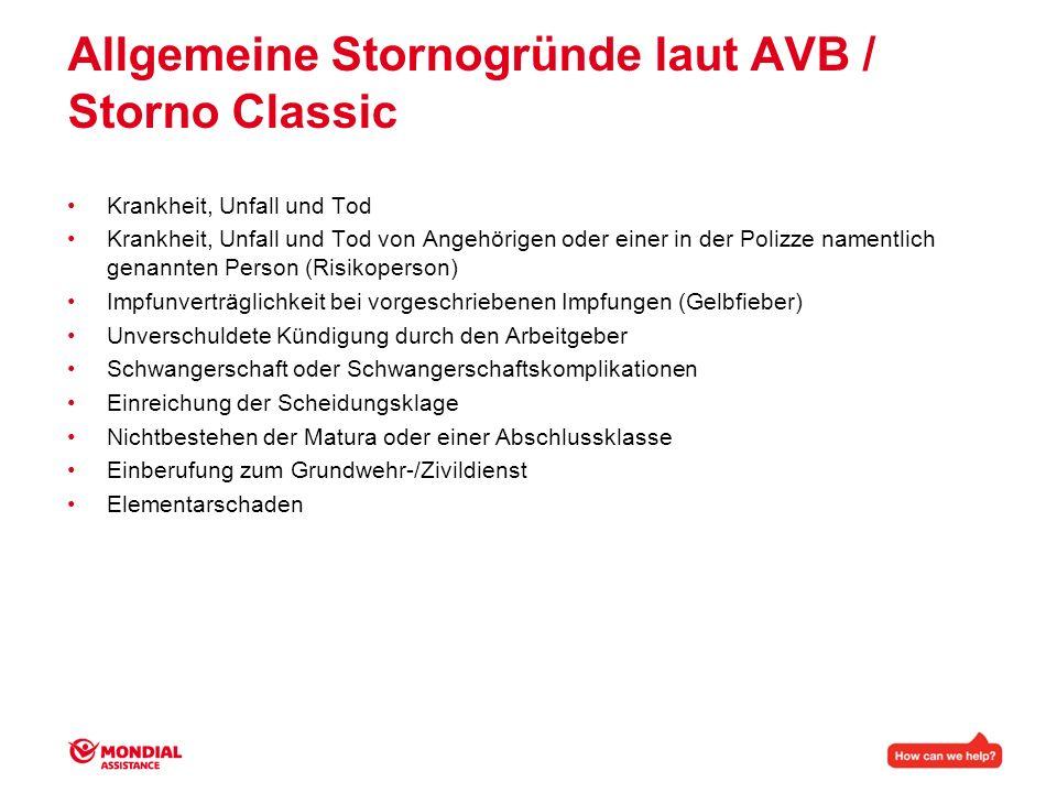 Allgemeine Stornogründe laut AVB / Storno Classic