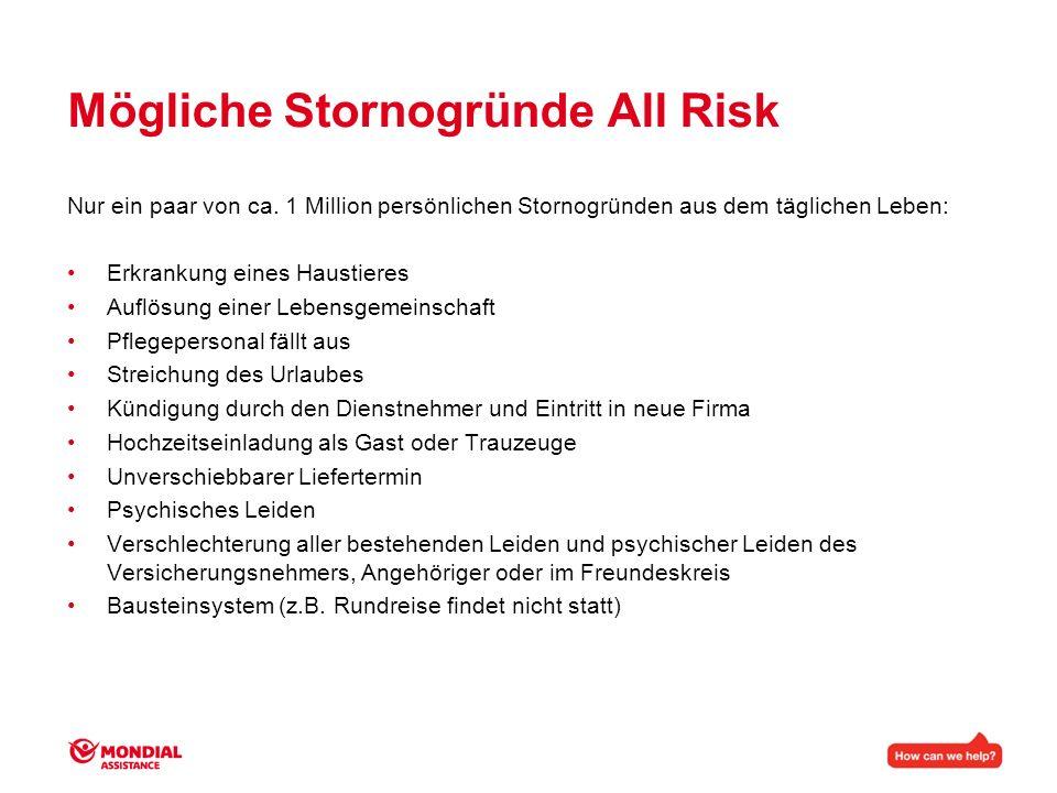 Mögliche Stornogründe All Risk