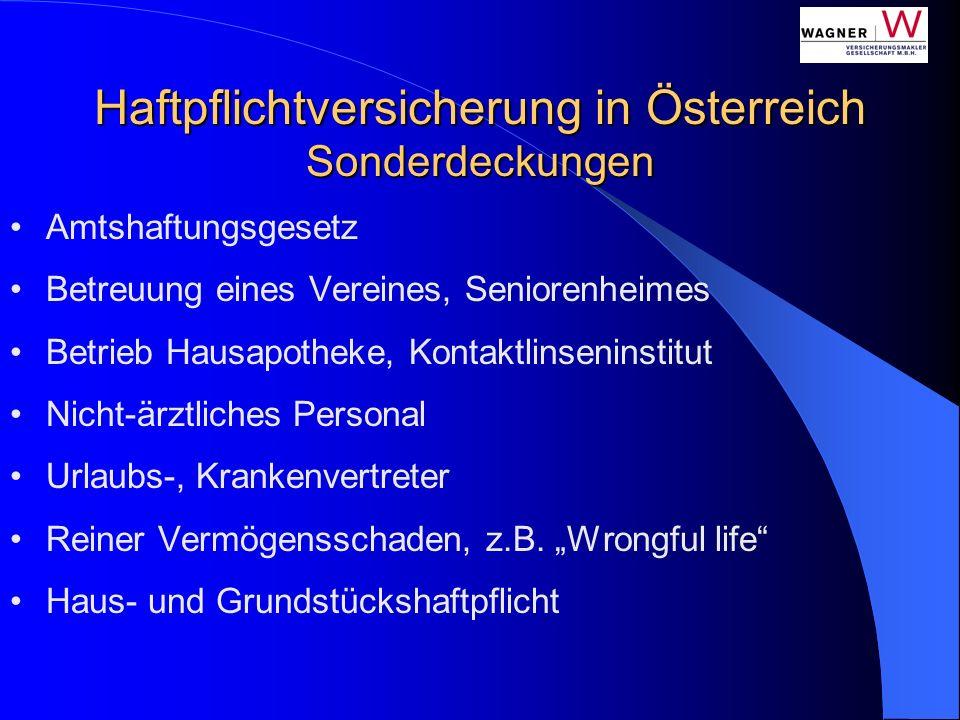 Haftpflichtversicherung in Österreich Sonderdeckungen