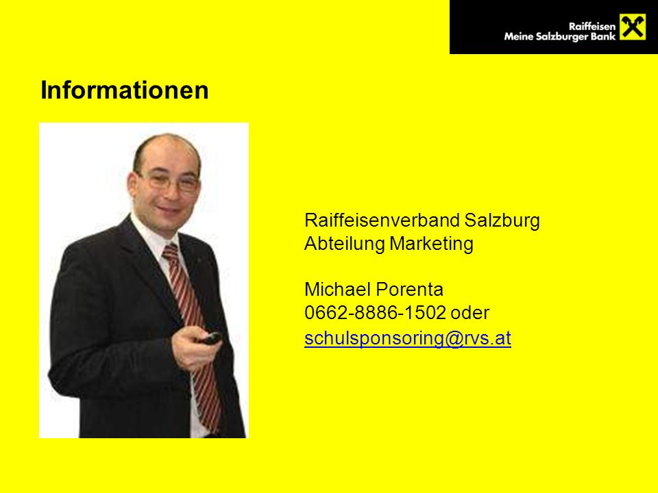 Informationen Raiffeisenverband Salzburg Abteilung Marketing