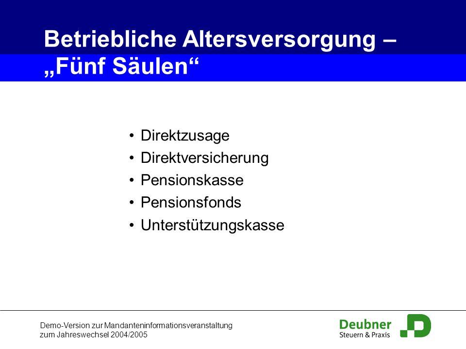 """Betriebliche Altersversorgung – """"Fünf Säulen"""