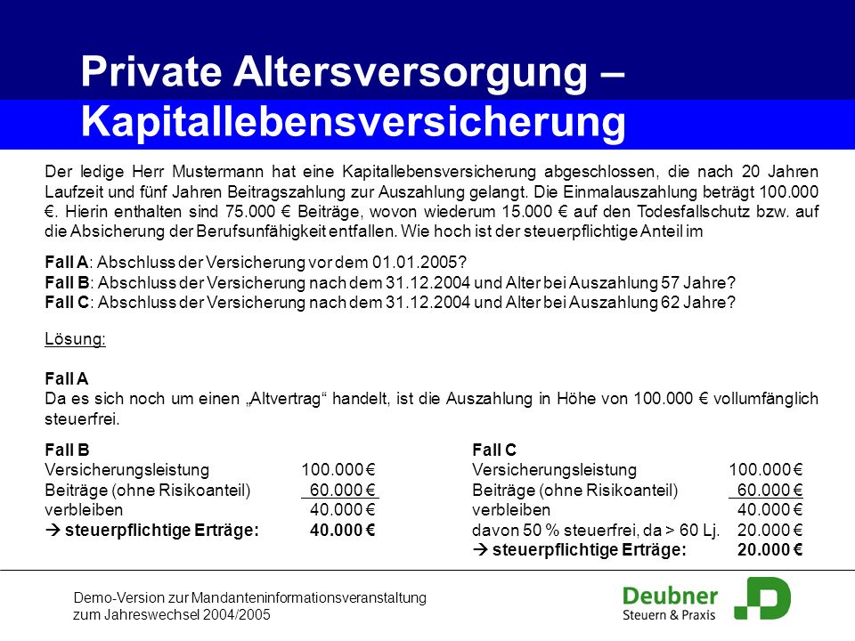Private Altersversorgung – Kapitallebensversicherung
