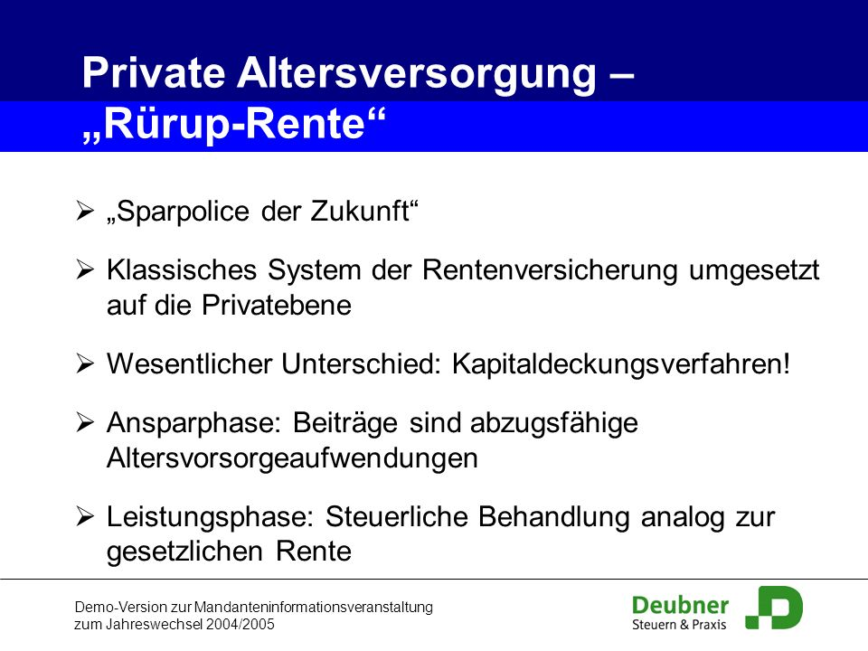 "Private Altersversorgung – ""Rürup-Rente"
