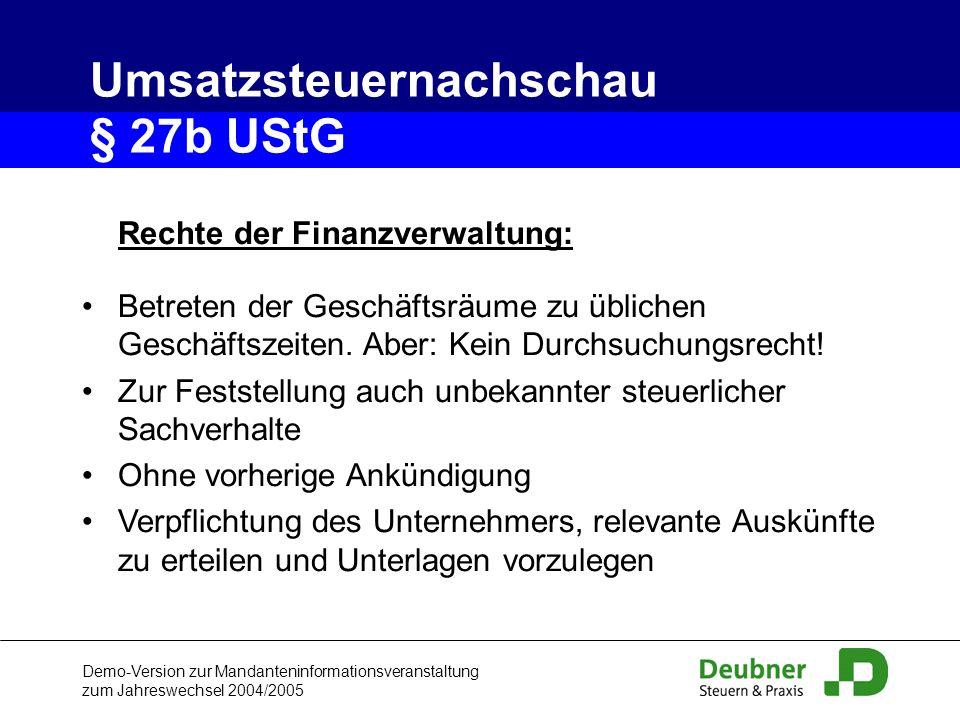 Umsatzsteuernachschau § 27b UStG