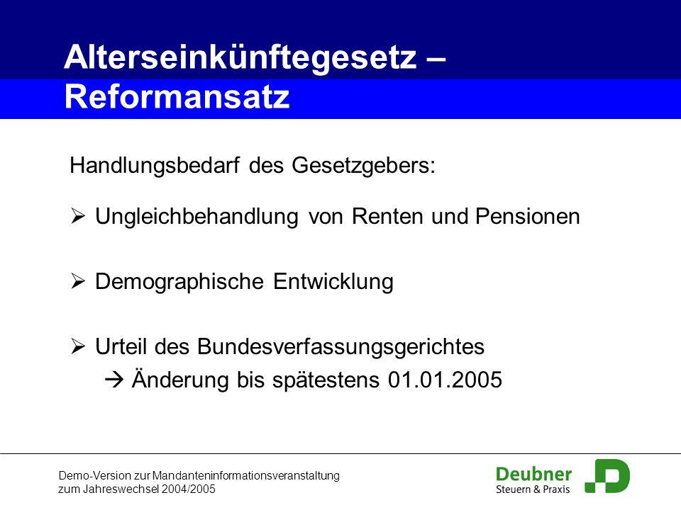 Alterseinkünftegesetz – Reformansatz