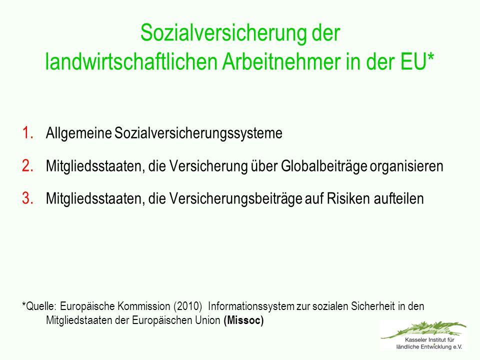 Sozialversicherung der landwirtschaftlichen Arbeitnehmer in der EU*