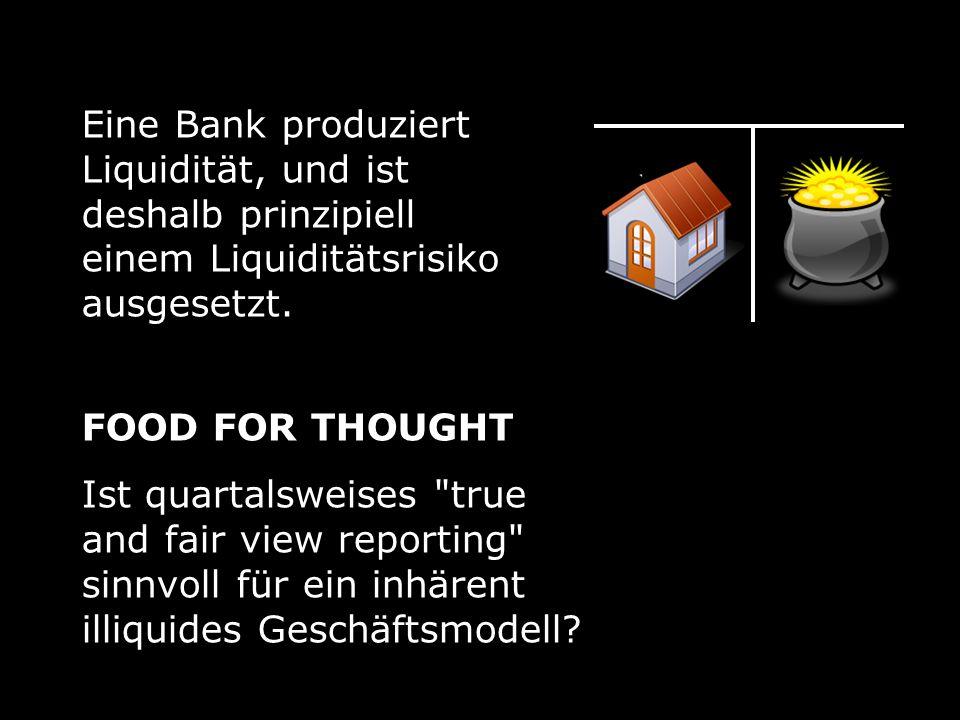 Eine Bank produziert Liquidität, und ist deshalb prinzipiell einem Liquiditätsrisiko ausgesetzt.