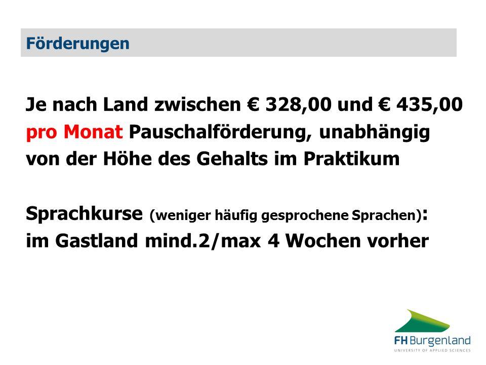 Je nach Land zwischen € 328,00 und € 435,00