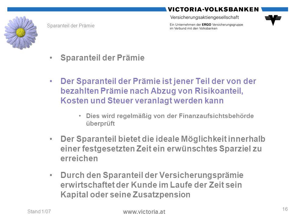 Sparanteil der Prämie Sparanteil der Prämie.