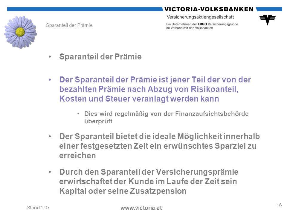 Sparanteil der PrämieSparanteil der Prämie.