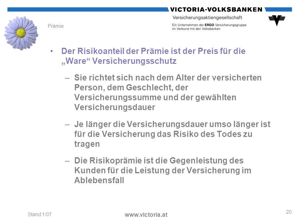 """PrämieDer Risikoanteil der Prämie ist der Preis für die """"Ware Versicherungsschutz."""
