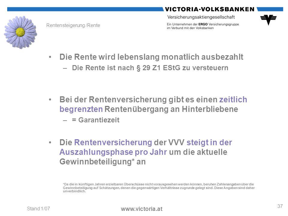 Rentensteigerung /Rente
