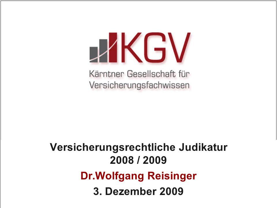 Versicherungsrechtliche Judikatur 2008 / 2009