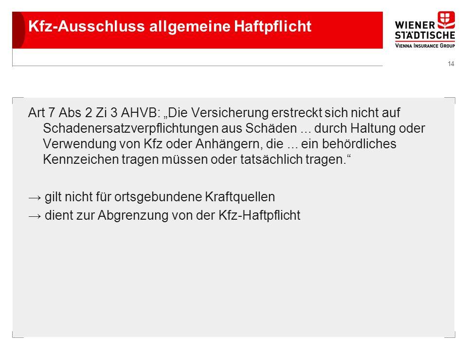 Kfz-Ausschluss allgemeine Haftpflicht