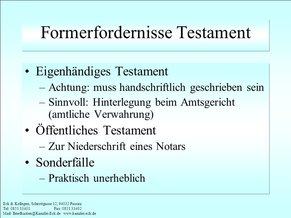 Formerfordernisse Testament