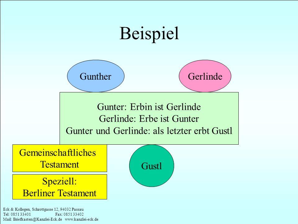 Beispiel Gunther Gerlinde Gunter: Erbin ist Gerlinde