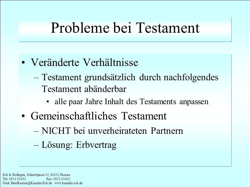 Probleme bei Testament