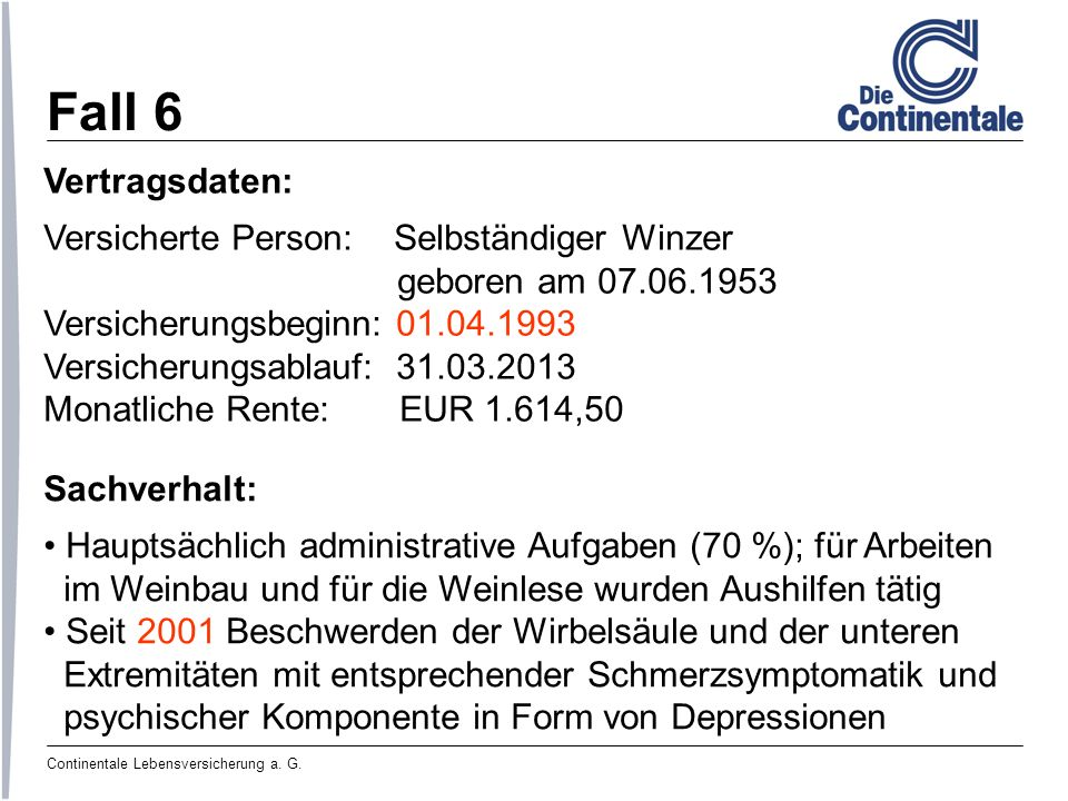 Fall 6 Vertragsdaten: Versicherte Person: Selbständiger Winzer