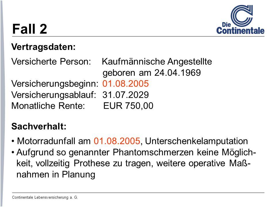 Fall 2 Vertragsdaten: Versicherte Person: Kaufmännische Angestellte