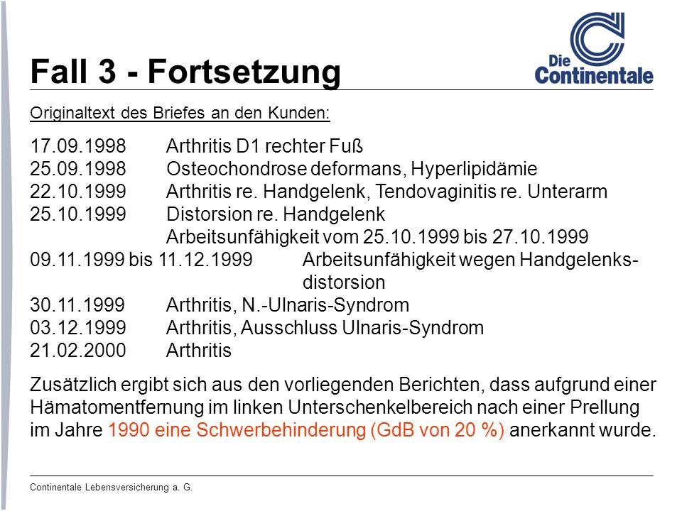 Fall 3 - Fortsetzung 17.09.1998 Arthritis D1 rechter Fuß