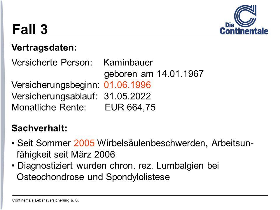 Fall 3 Vertragsdaten: Versicherte Person: Kaminbauer