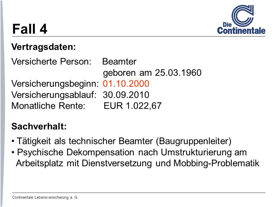 Fall 4 Vertragsdaten: Versicherte Person: Beamter