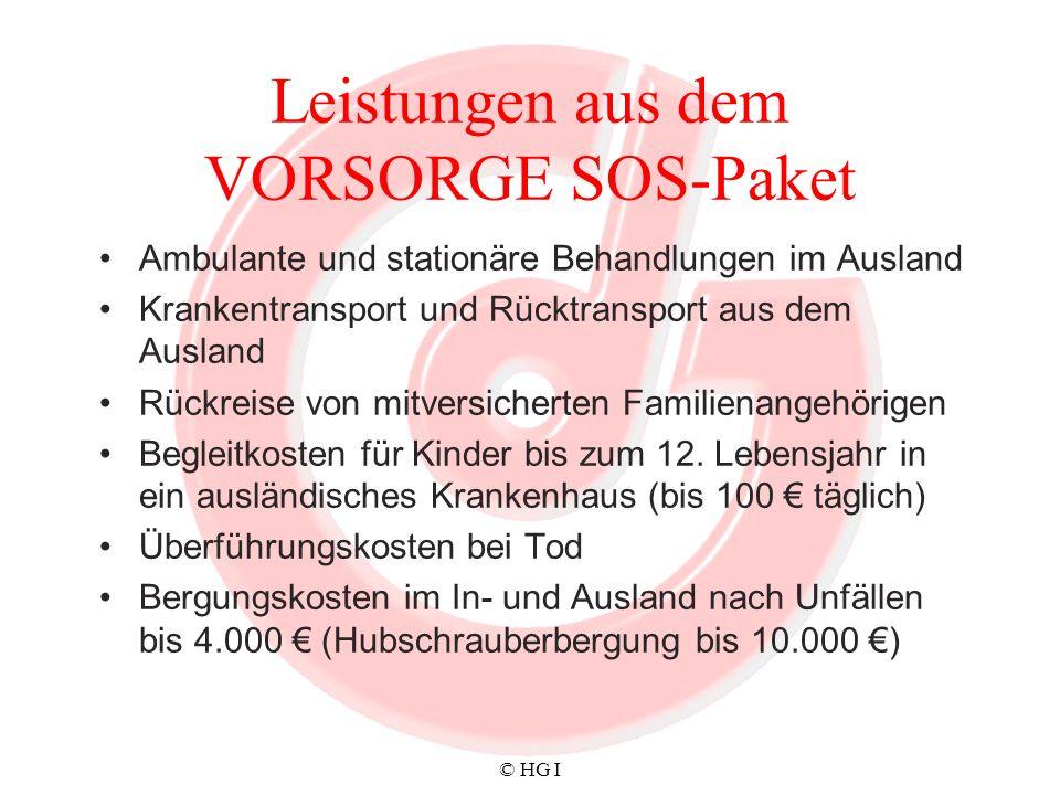 Leistungen aus dem VORSORGE SOS-Paket