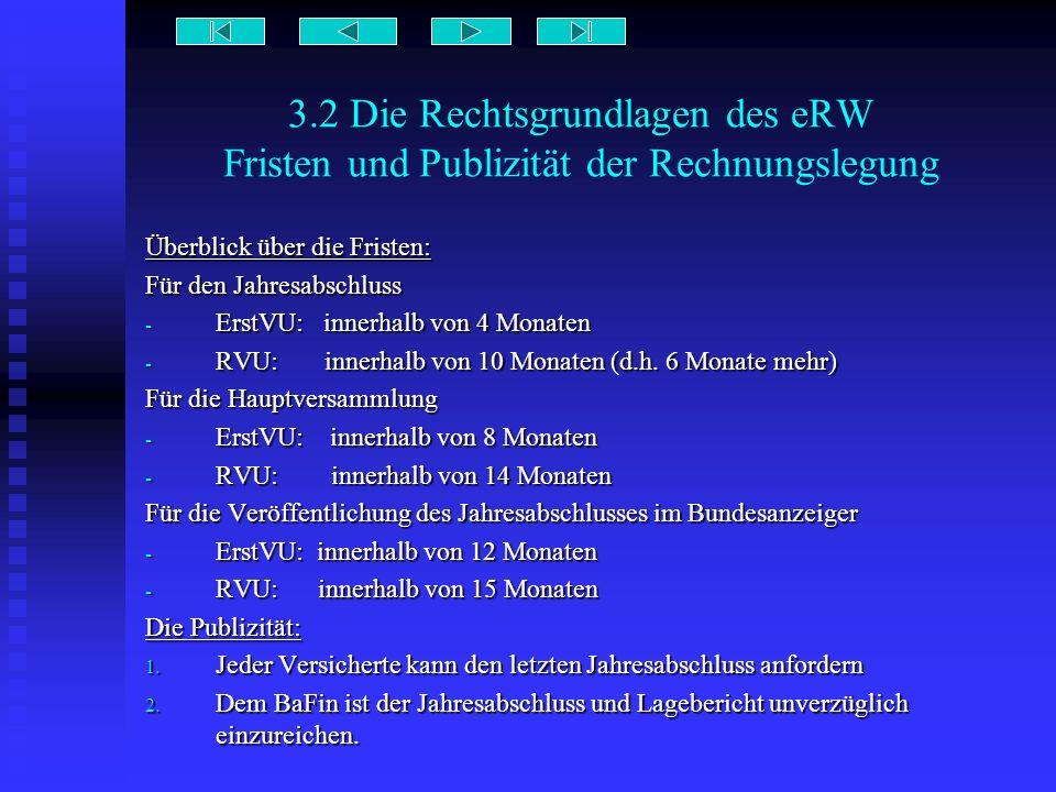 3.2 Die Rechtsgrundlagen des eRW Fristen und Publizität der Rechnungslegung