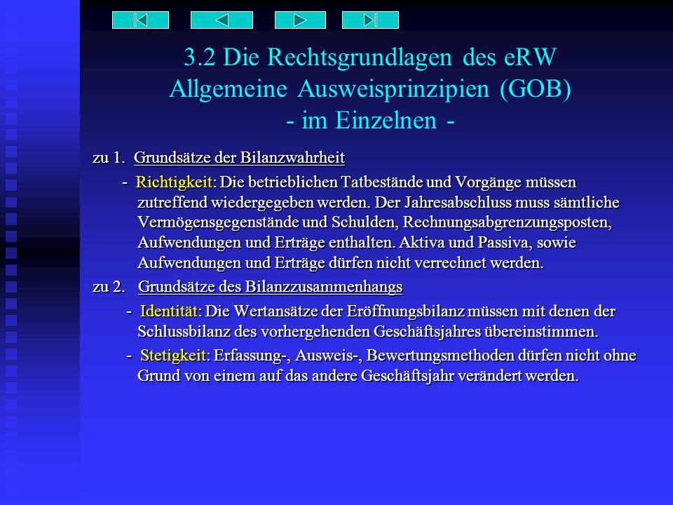 3.2 Die Rechtsgrundlagen des eRW Allgemeine Ausweisprinzipien (GOB) - im Einzelnen -