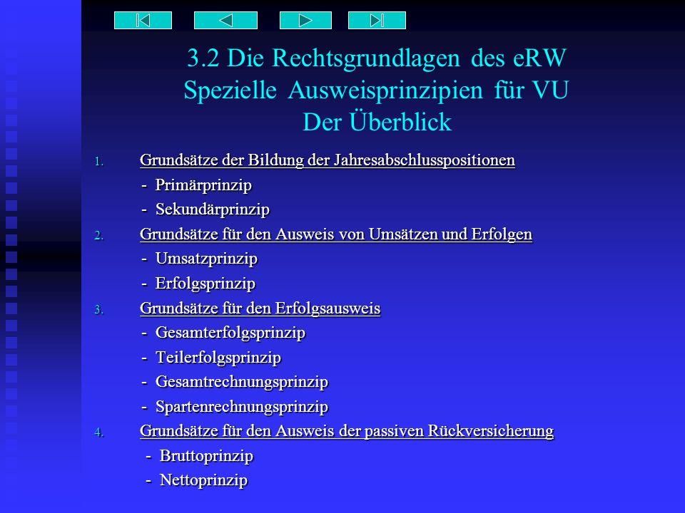 3.2 Die Rechtsgrundlagen des eRW Spezielle Ausweisprinzipien für VU Der Überblick