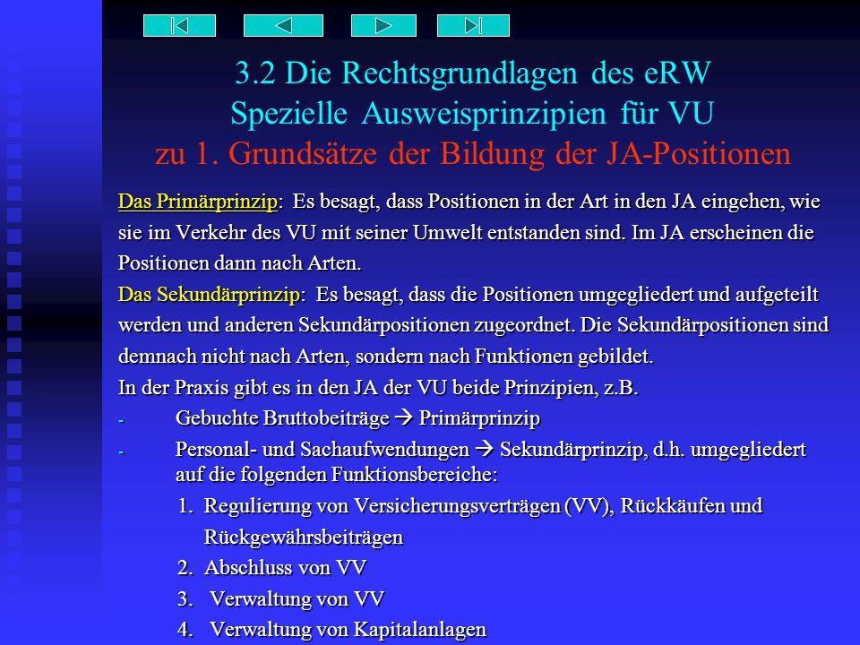 3.2 Die Rechtsgrundlagen des eRW Spezielle Ausweisprinzipien für VU zu 1. Grundsätze der Bildung der JA-Positionen
