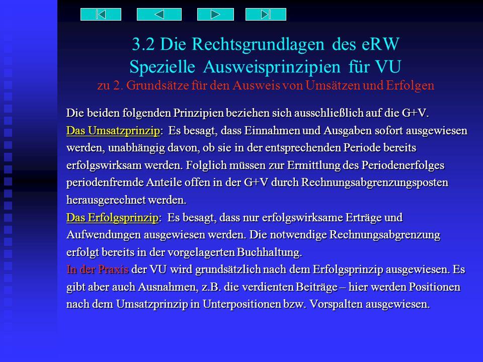 3.2 Die Rechtsgrundlagen des eRW Spezielle Ausweisprinzipien für VU zu 2. Grundsätze für den Ausweis von Umsätzen und Erfolgen