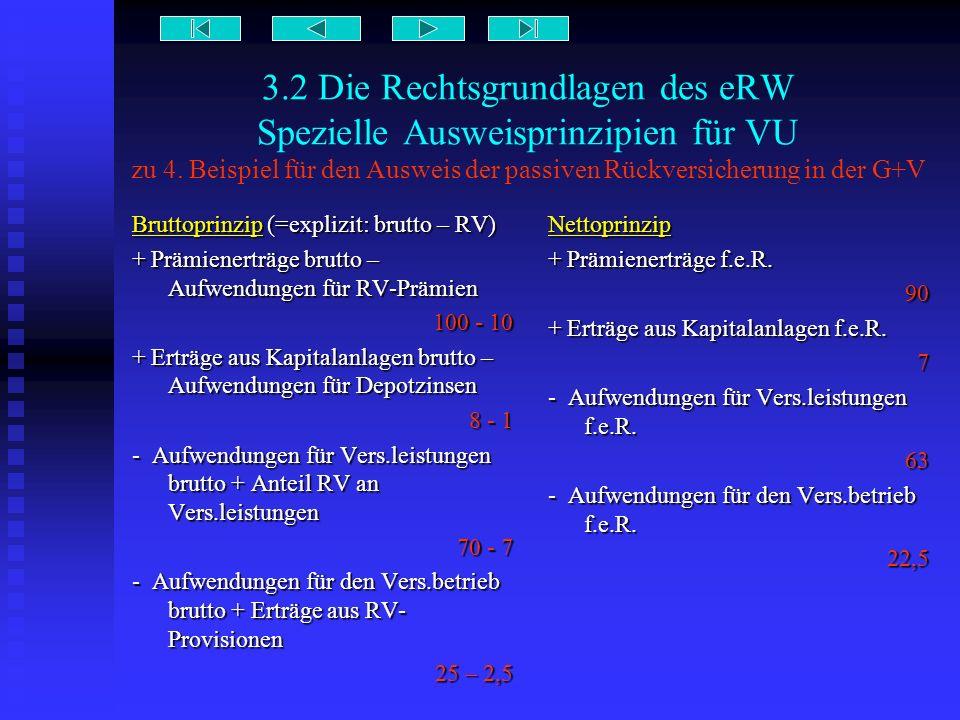 3.2 Die Rechtsgrundlagen des eRW Spezielle Ausweisprinzipien für VU zu 4. Beispiel für den Ausweis der passiven Rückversicherung in der G+V
