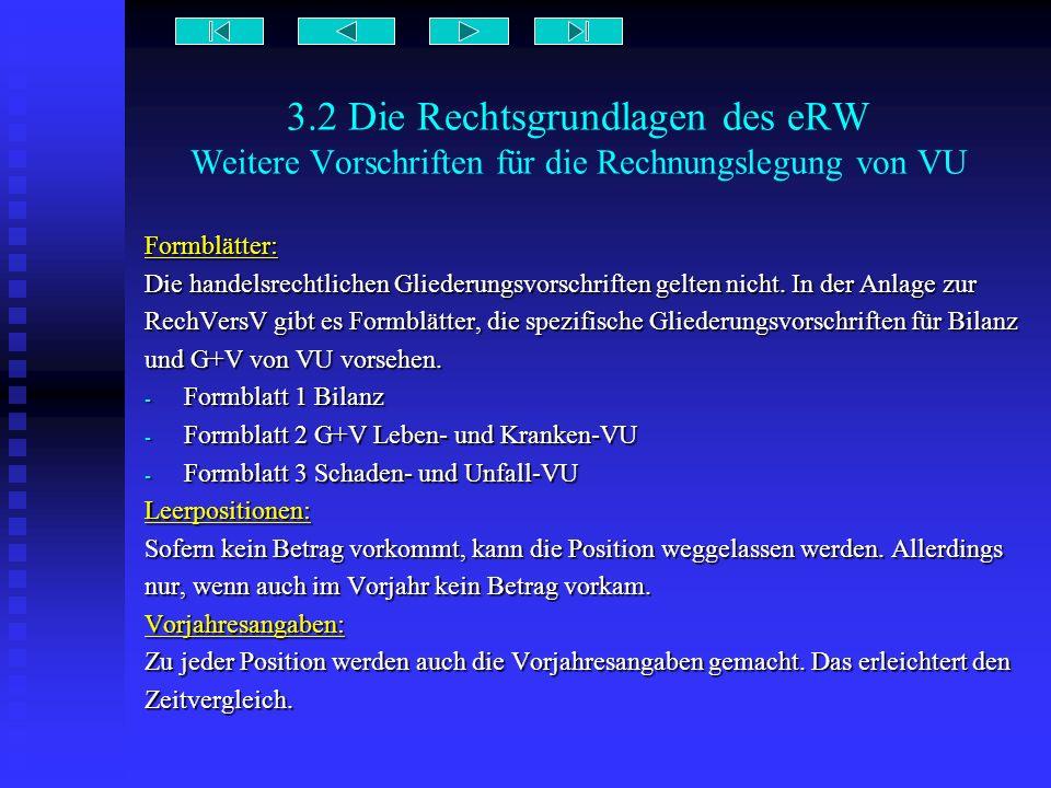 3.2 Die Rechtsgrundlagen des eRW Weitere Vorschriften für die Rechnungslegung von VU