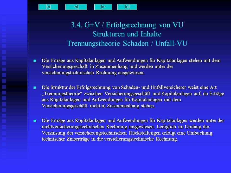 3.4. G+V / Erfolgsrechnung von VU Strukturen und Inhalte Trennungstheorie Schaden / Unfall-VU