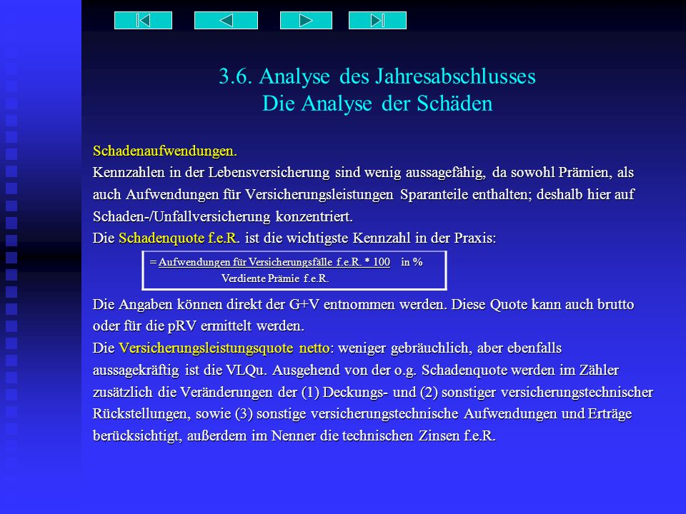 3.6. Analyse des Jahresabschlusses Die Analyse der Schäden