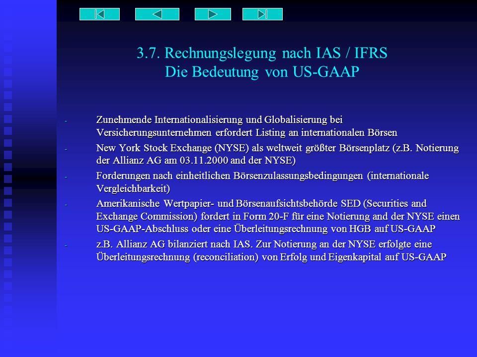 3.7. Rechnungslegung nach IAS / IFRS Die Bedeutung von US-GAAP