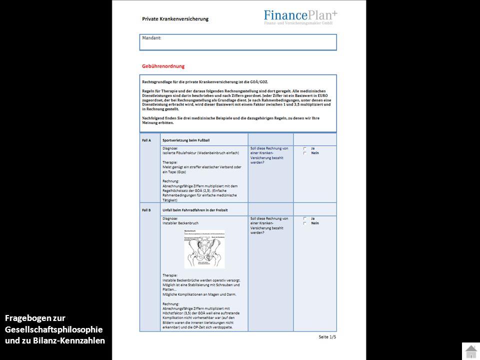 Fragebogen zur Gesellschaftsphilosophie und zu Bilanz-Kennzahlen
