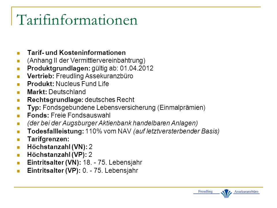 Tarifinformationen Tarif- und Kosteninformationen