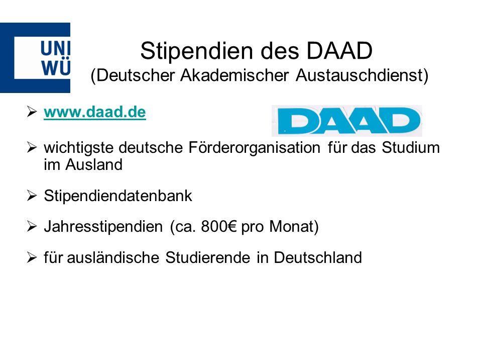 Stipendien des DAAD (Deutscher Akademischer Austauschdienst)