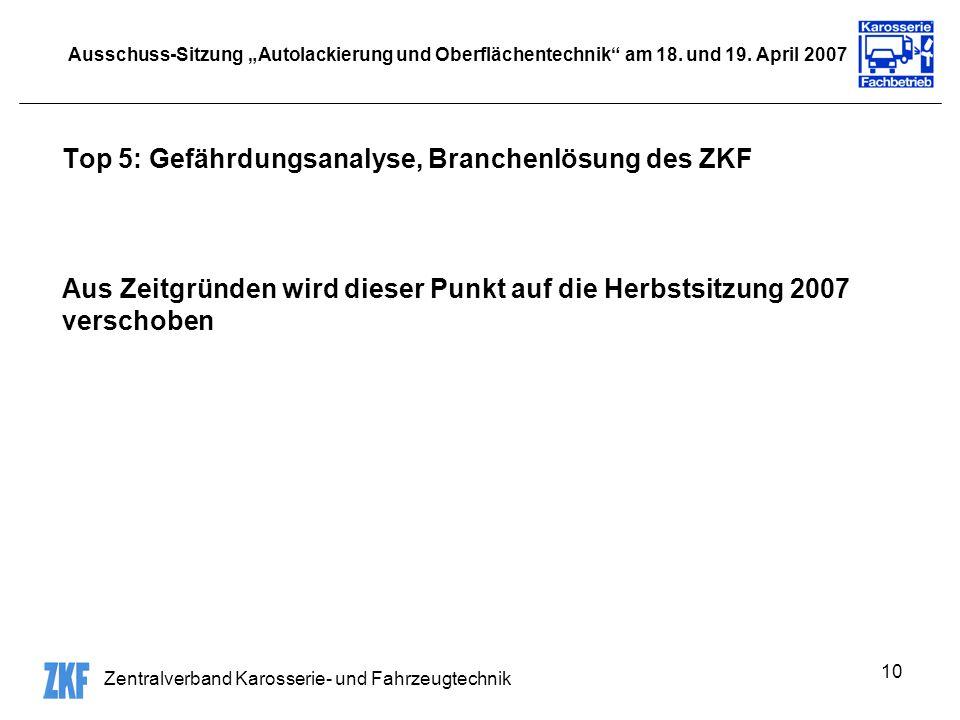 Top 5: Gefährdungsanalyse, Branchenlösung des ZKF